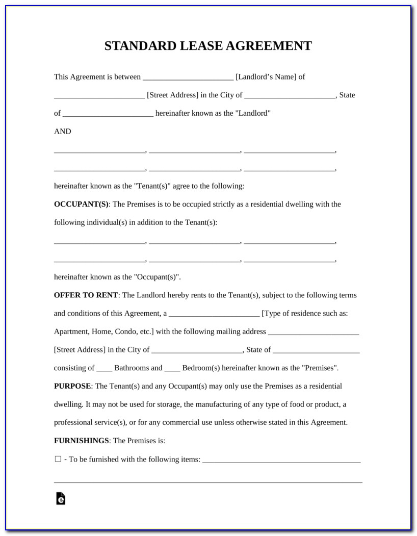 Rental Or Lease Agreement Form