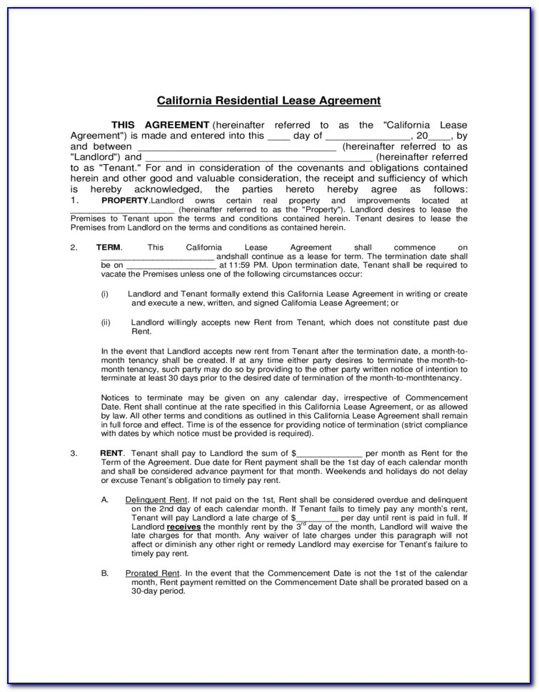 Residential Lease Template