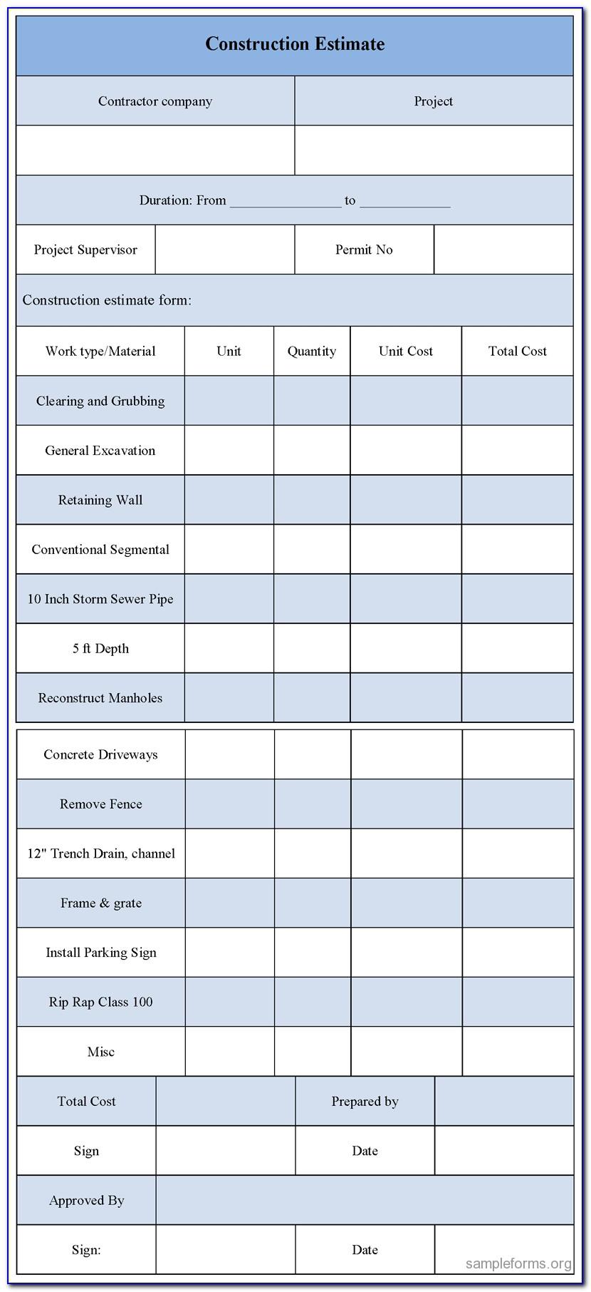 Sample Construction Estimate Form