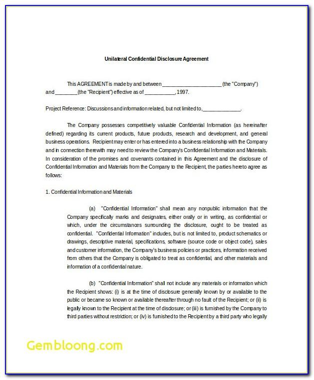 Nda Examples Beautiful 10 Confidential Disclosure Agreement Templates ? Free Sample