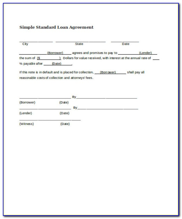 Simple Loan Agreement Form Pdf