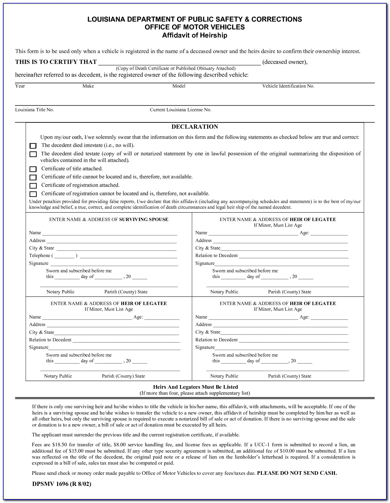 Small Estate Affidavit Form Bexar County Texas