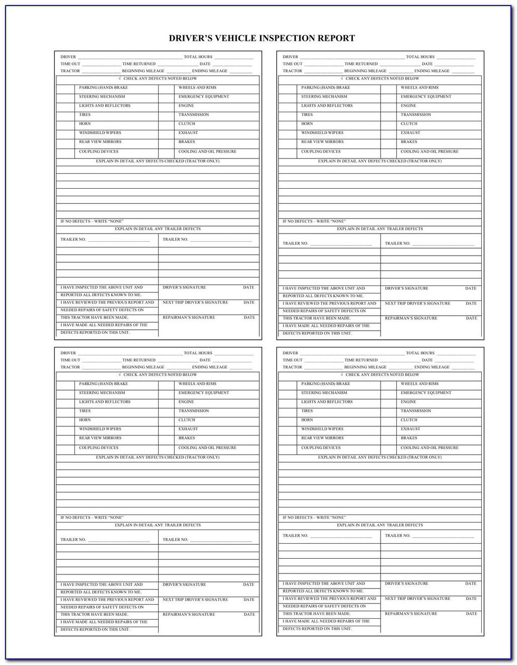 Straight Truck Pre Trip Inspection Checklist Form