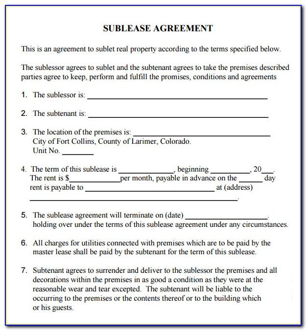 Sub Rent Agreement Format