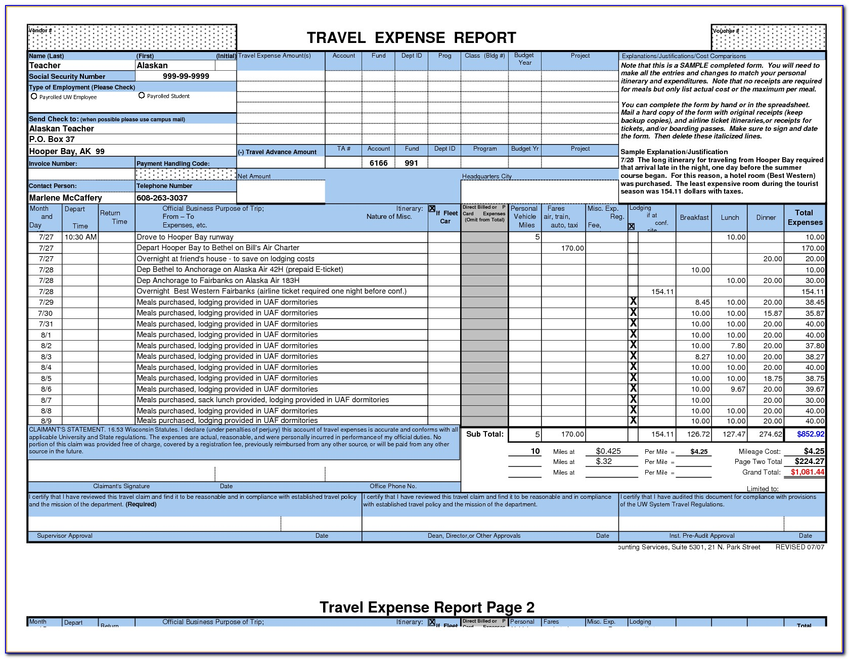 Travel Expenses Form Template