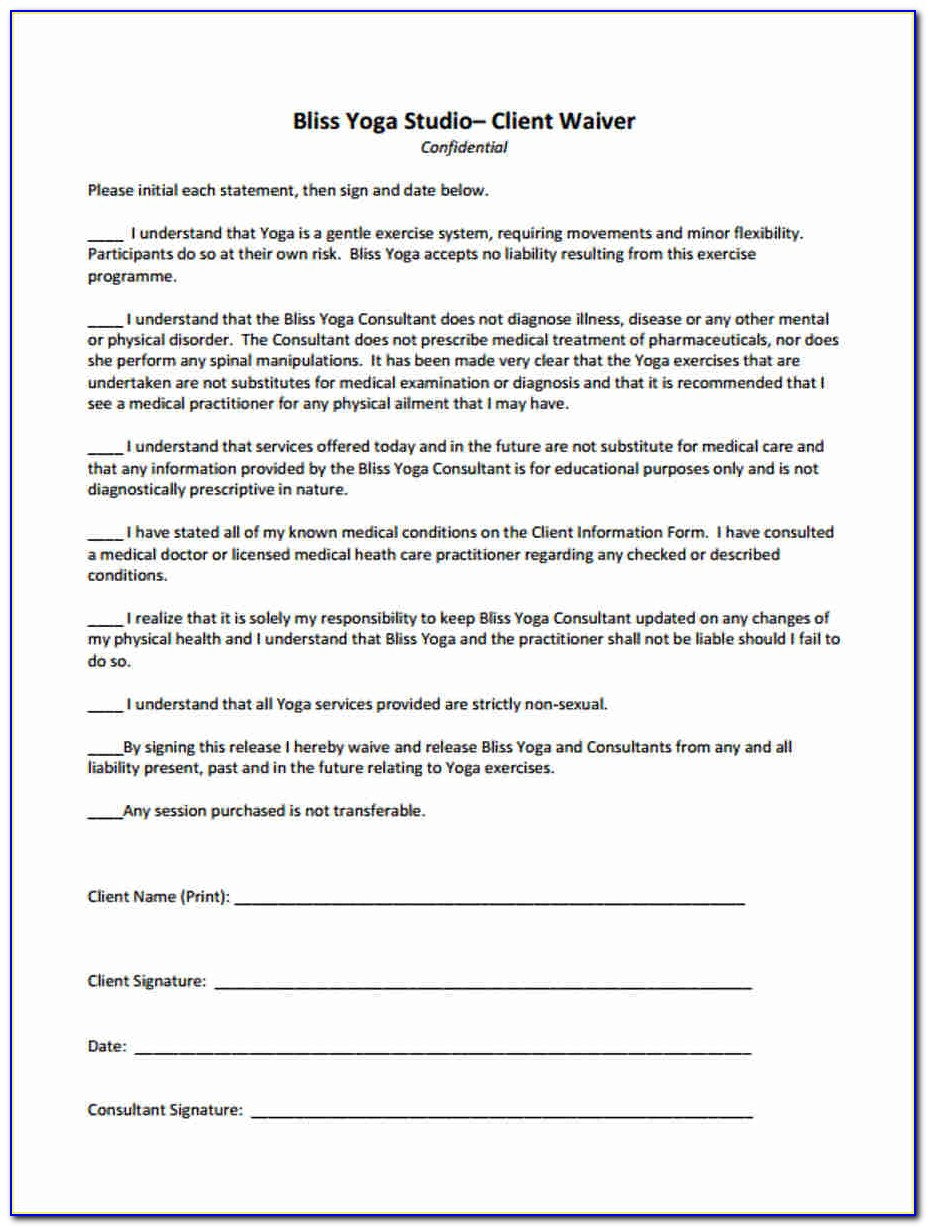 Yoga Waiver Form Template Canada