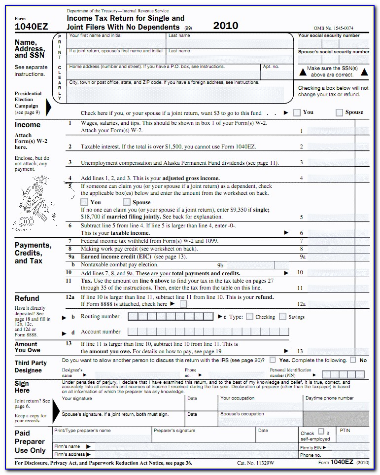 1040 Easy Tax Form 2017