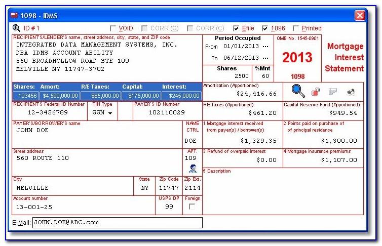 1098 Mortgage Interest Tax Form
