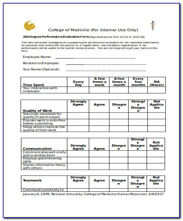360 Degree Performance Appraisal Form Pdf
