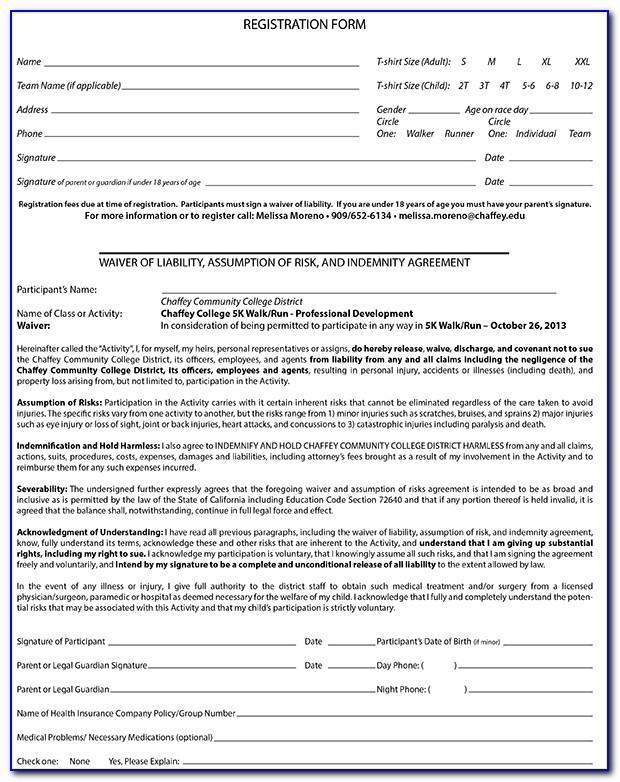 5k Registration Form Waiver
