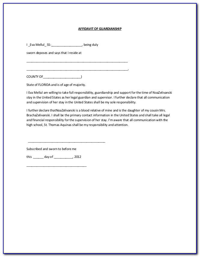 Affidavit Of Guardianship Form