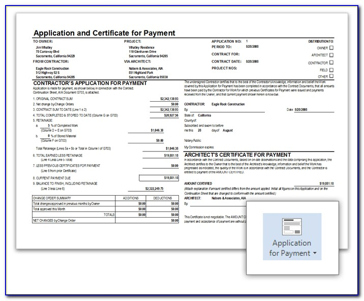 Aia Application For Payment Form Free