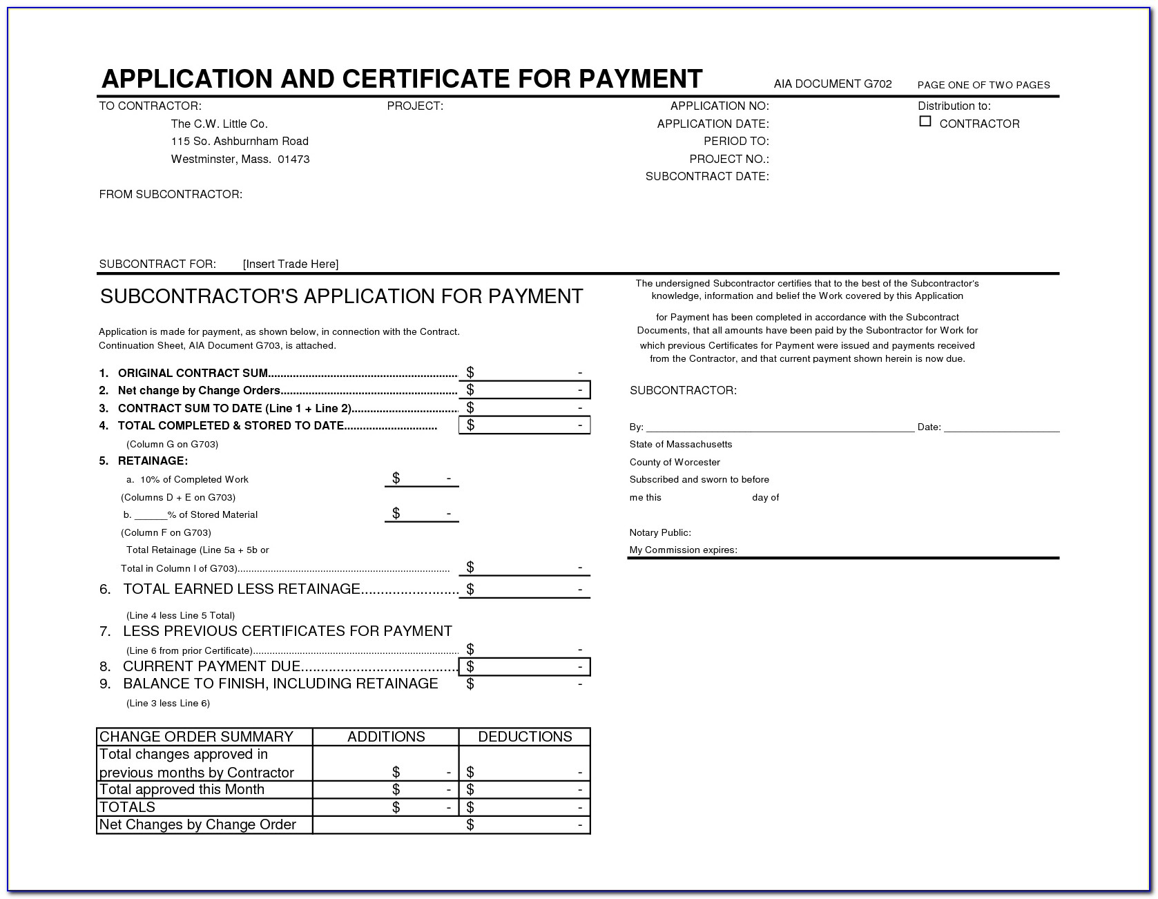 Aia Contract Form A101