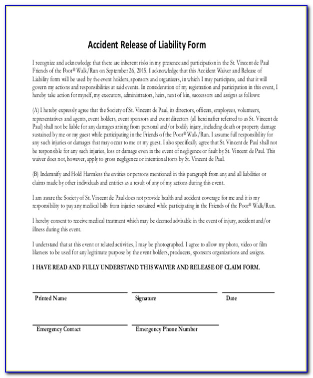 Auto Accident Release Of Liability Form