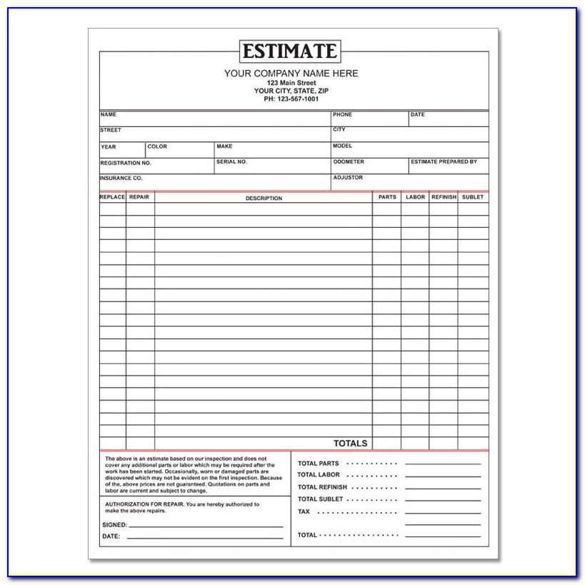Auto Body Repair Estimate Form Pdf