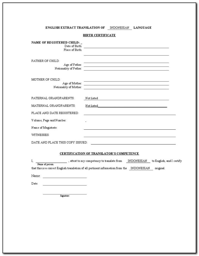 Birth Certificate Translation Form For Uscis