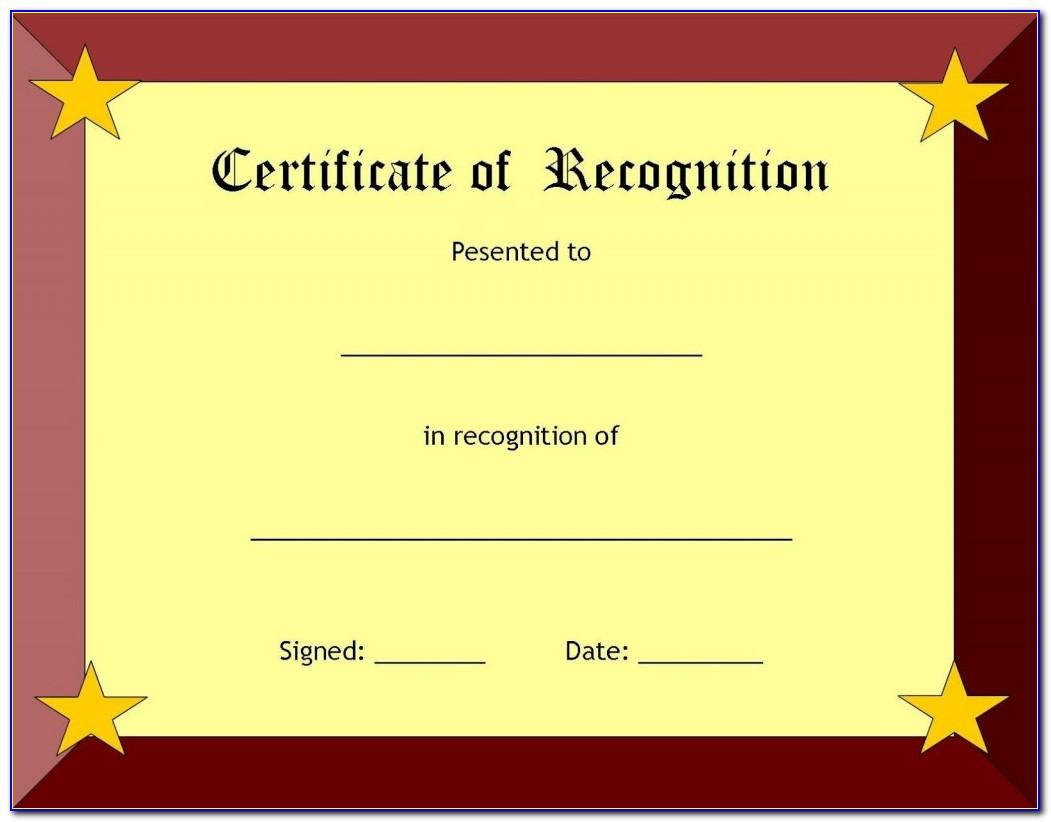 Blank Certificate Of Appreciation Form
