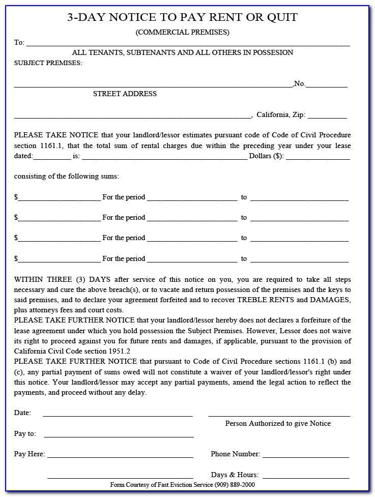 California 3 Day Notice To Pay Or Quit Template