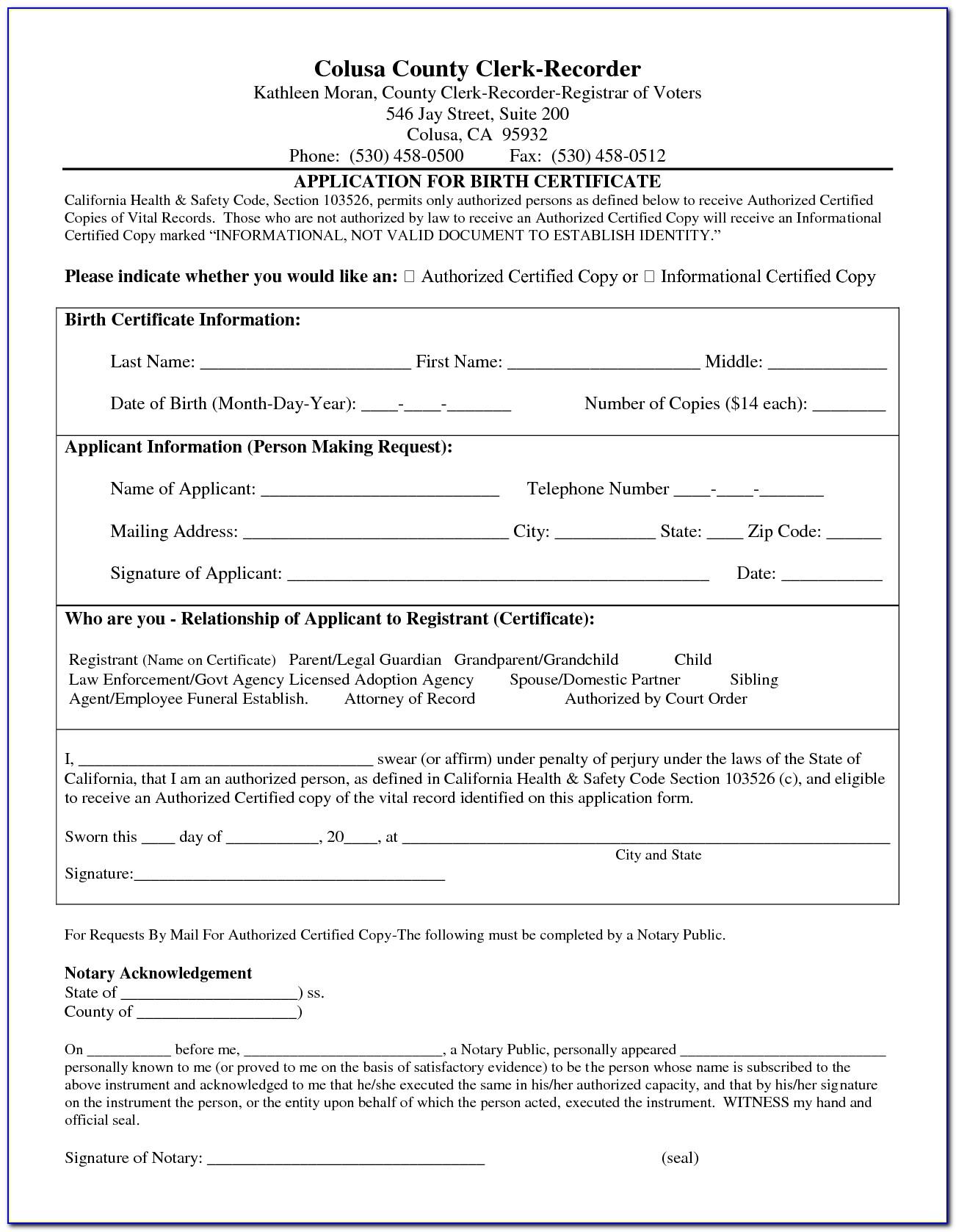 California Birth Certificate Request Form