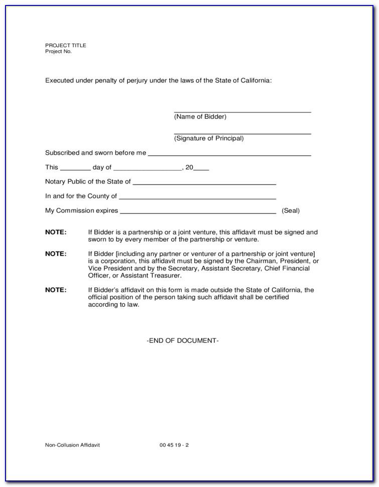 California Name Affidavit Form Free