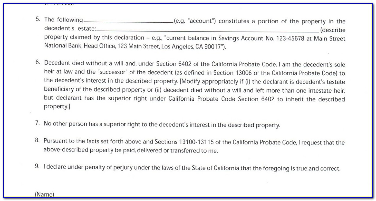 California Probate Code Section 13100 Form