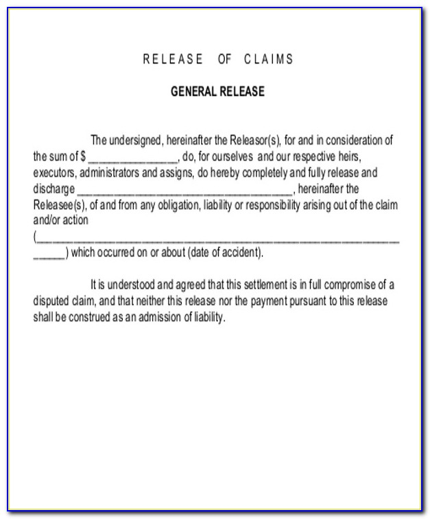 Car Accident Claim Release Form