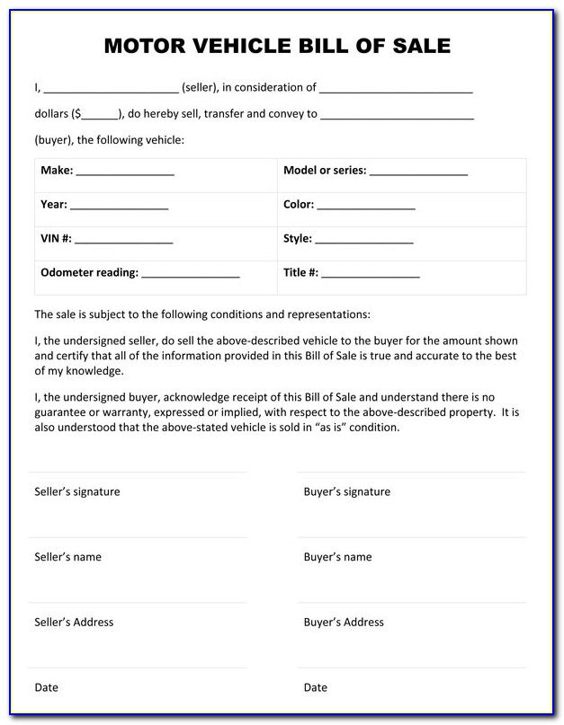 Car Bill Of Sale Form Free Printable