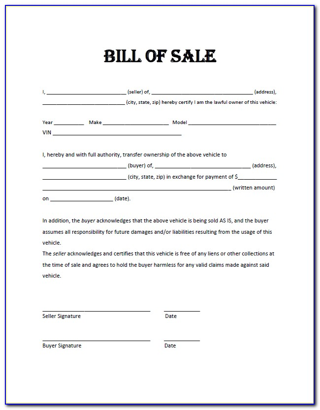 Car Bill Of Sale Template Printable