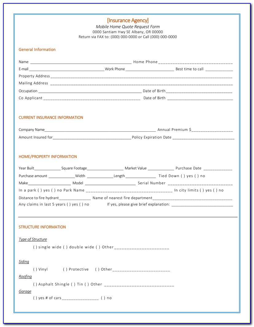 Car Insurance Quote Form Template