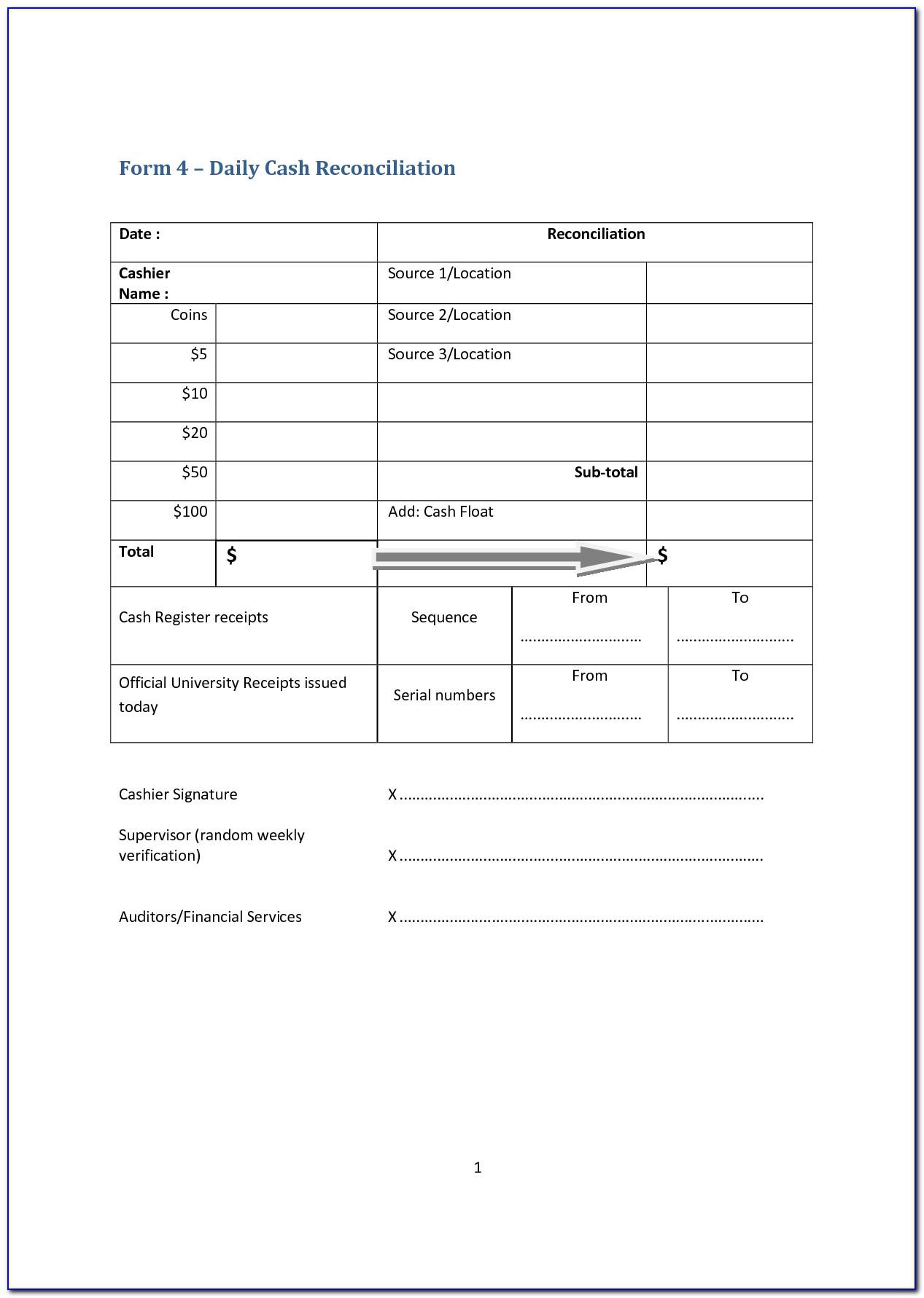 Cash Register Reconciliation Form Excel