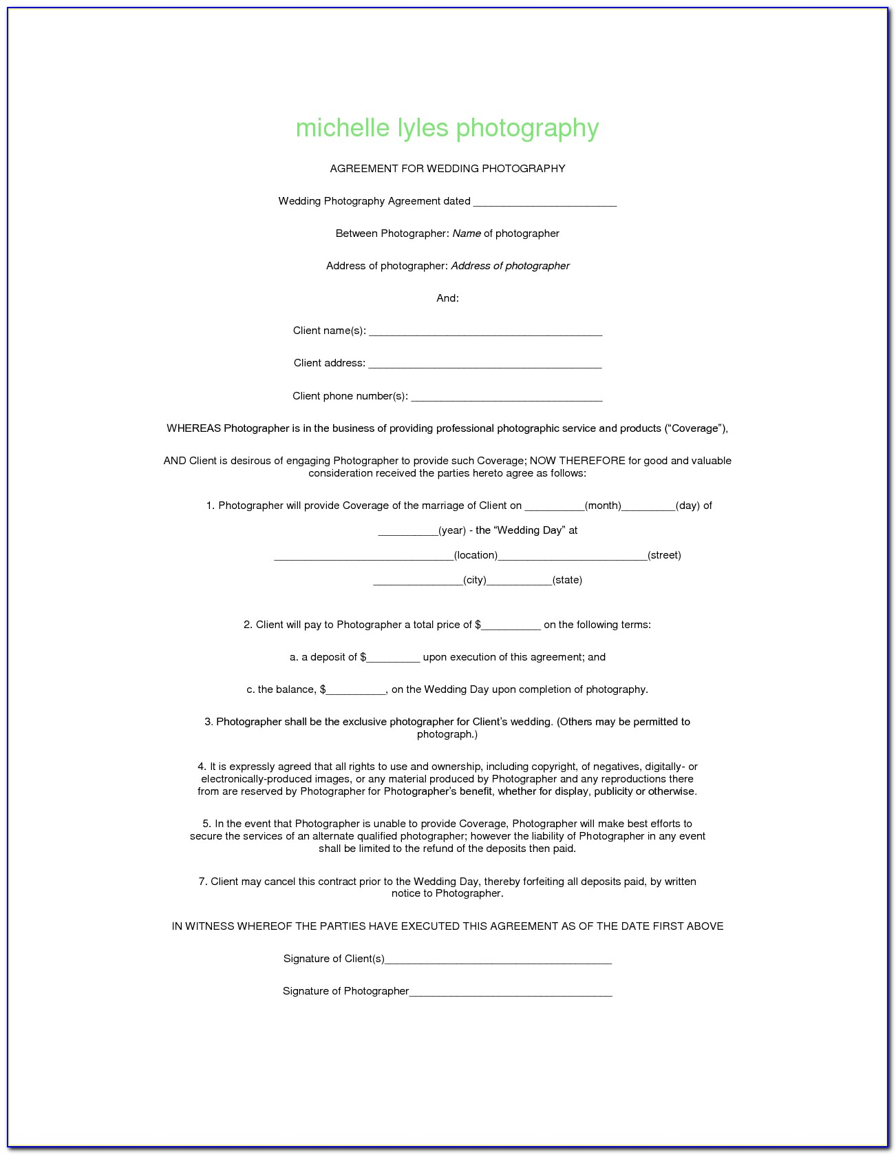 Child Photography Consent Form Template