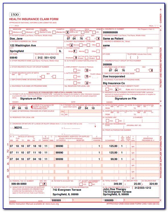 Cms Hcfa 1500 Form Download