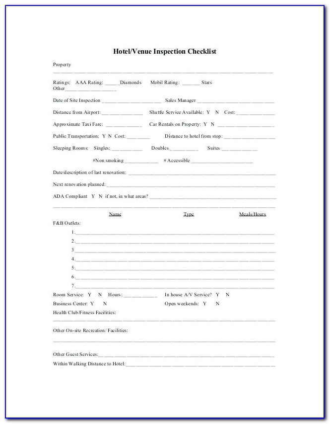 Commercial Property Inspection Checklist Template Free