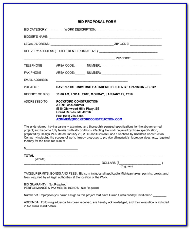 Construction Bid Proposal Format