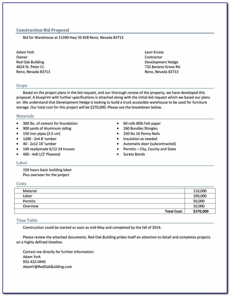 Construction Bid Proposal Template Pdf