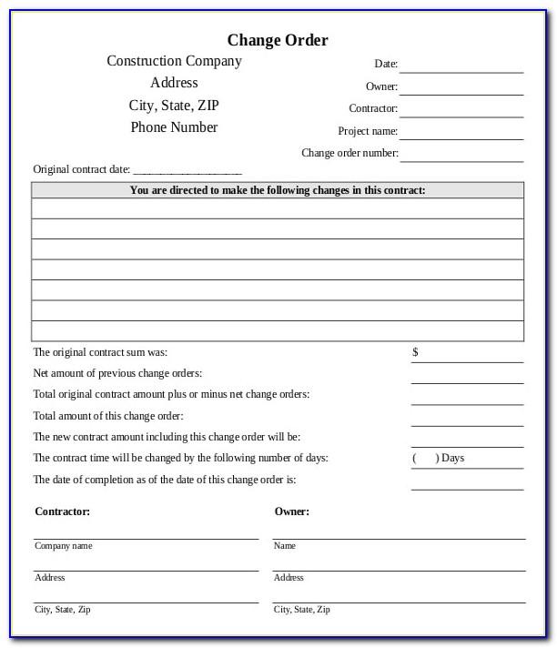 Construction Change Order Form Template Excel