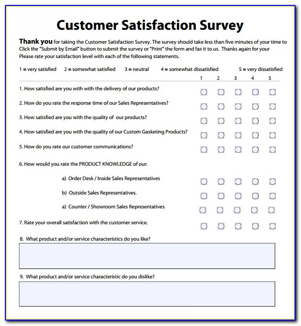 Customer Satisfaction Survey Sample