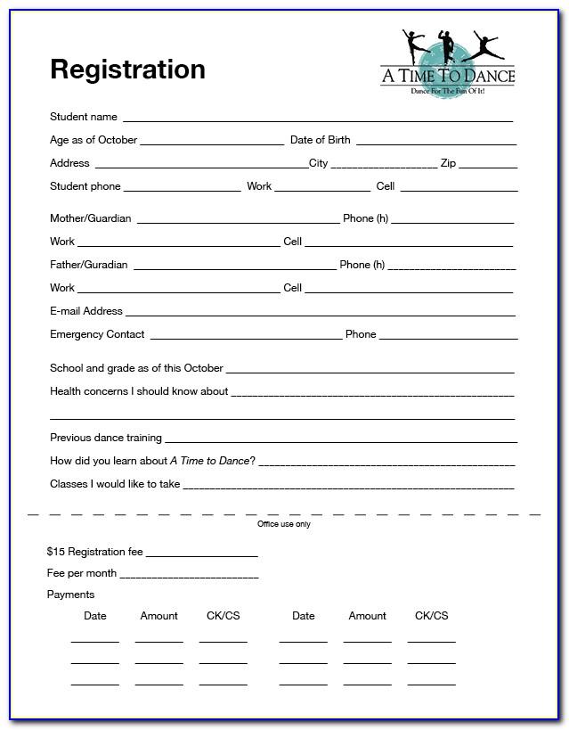 Dance Camp Registration Form Template