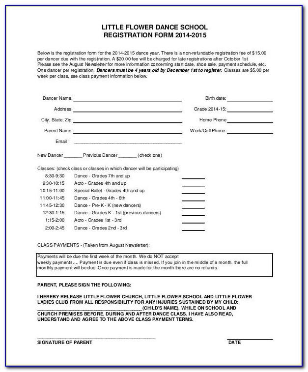 Dance Registration Form Template Word