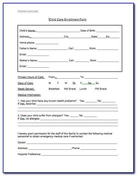 Daycare Enrollment Forms Free