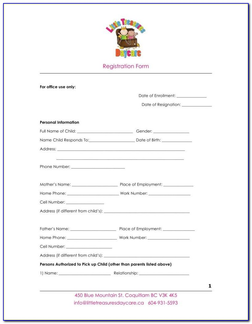 Daycare Enrollment Forms Templates