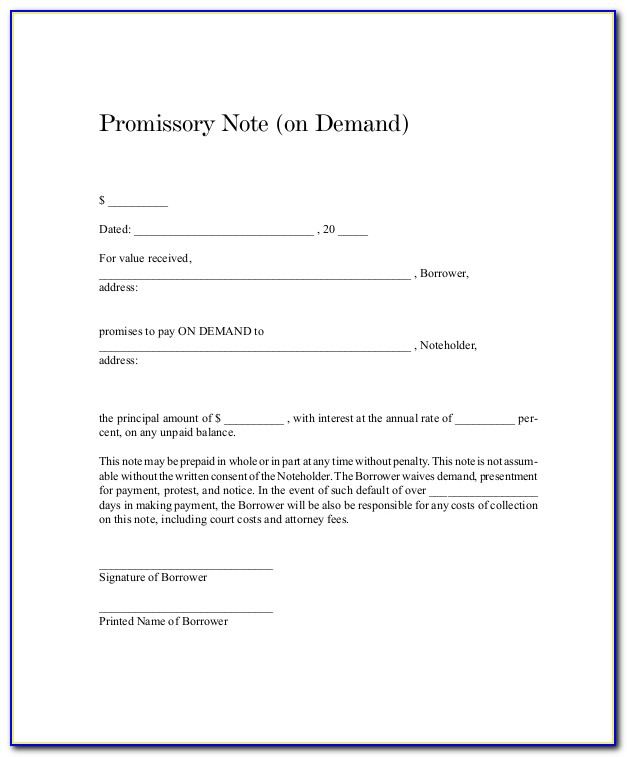 Demand Promissory Note Format In Hindi