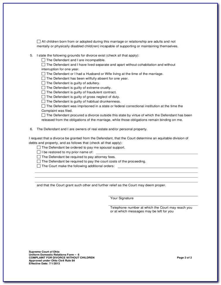 Divorce Forms Montgomery County Ohio