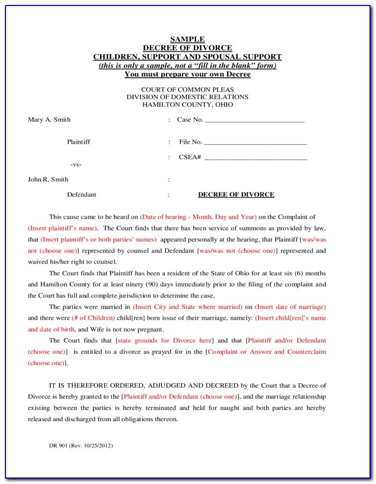 Divorce Forms Summit County Ohio