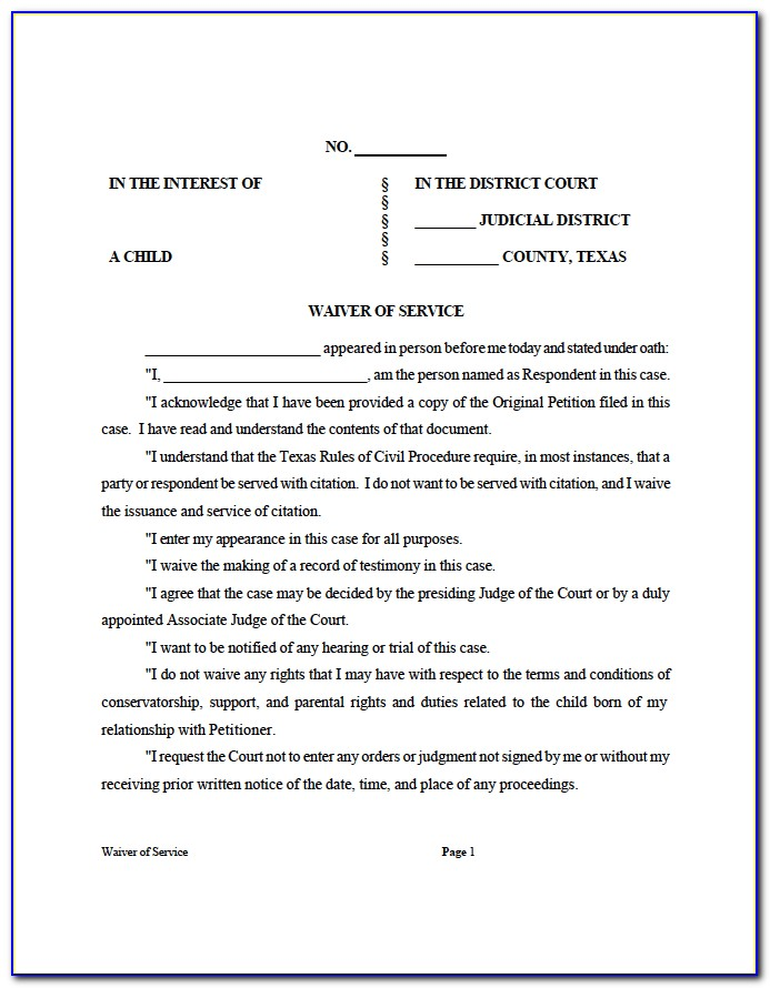 Divorce Waiver Form Texas