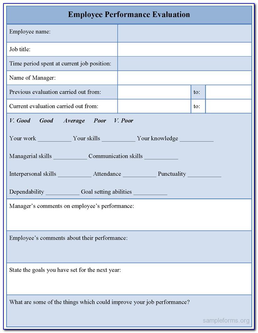 Employee Evaluation Form Sample