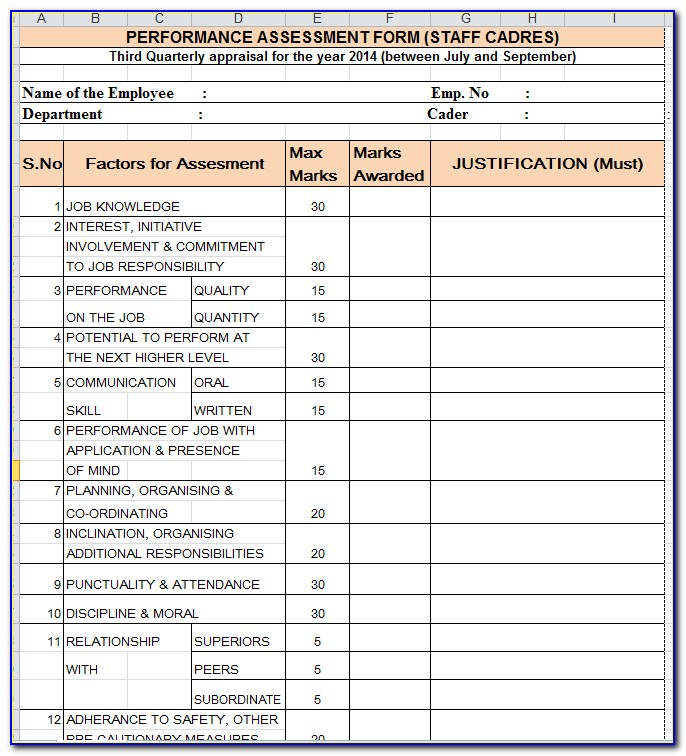 Employee Performance Appraisal Form Answers