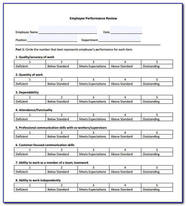 Employee Performance Appraisal Form Excel
