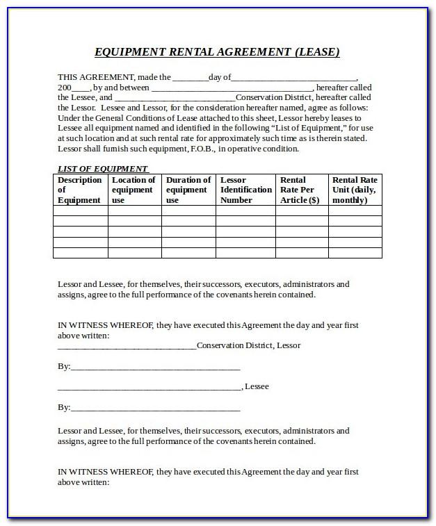 Equipment Rental Form Template Free