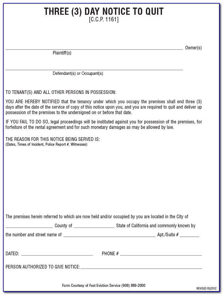 Eviction 3 Day Notice California Form